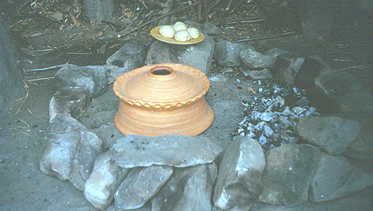 A replica oven being used