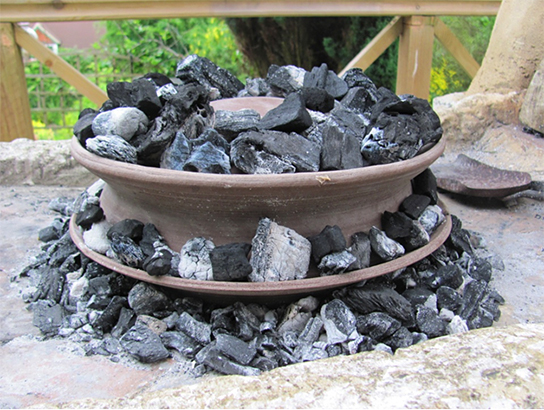 Oven with charcoal beneath and on top of it. Image from http://blog.britishmuseum.org/2013/07/30/from-parthian-chicken-to-flat-breads-experimenting-with-a-roman-oven/