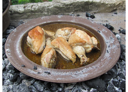 Chicken cooking in the oven