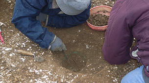 Excavation of the helmet impression. © Canterbury Archaeological Trust Ltd