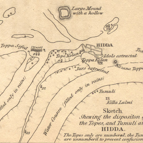 Map by Charles Masson showing the position of Tope Kelan (Hadda Stupa 10)