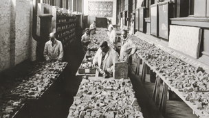 Staff at the Vorderasiatisches Museum, Berlin, sorting fragments of glazed bricks excavated by Robert Koldewey at Babylon between 1902 and 1914