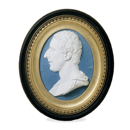 Jasper ware portrait plaque of Sir William Hamilton, by Josiah Wedgwood I and Thomas Bentley, Etruria factory, Staffordshire, England, AD 1779