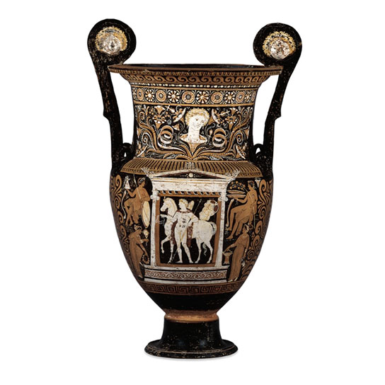 Red-figured wine bowl (volute-krater), attributed to the Baltimore Painter, Greek, around 325 BC