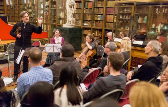 Peter Sheppard Skӕrved talking to the audience in the Enlightenment Gallery