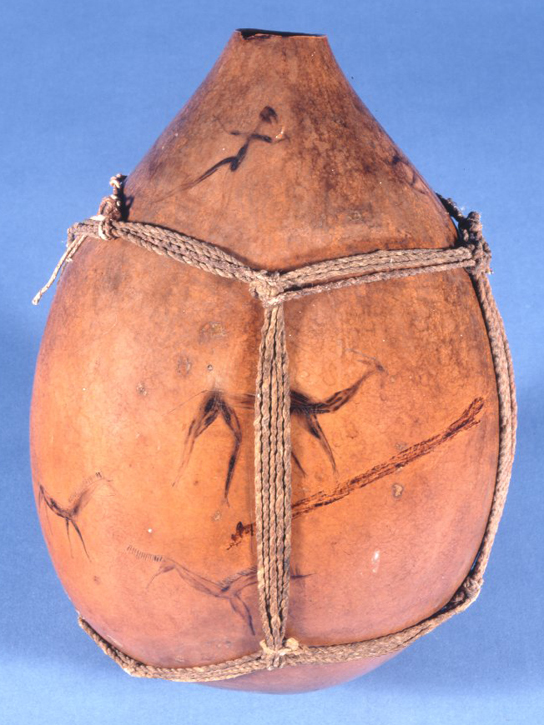 Engraved calabash gourd vessel made by the San People (Af1976,05.2)