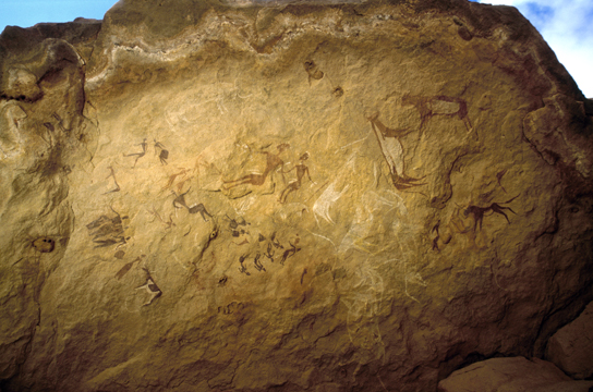 Roof of a painted rock shelter with various animals and human figures. Karkur Talh, Egypt. 2013,2034.6 © David Coulson/TARA