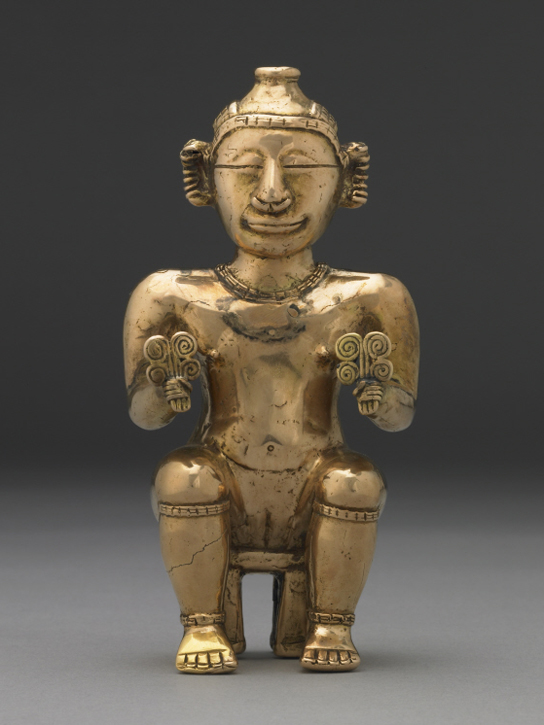 Seated female poporo (lime container), Early Quimbaya, 500 BC - AD 700 (© Trustees of the British Museum, Am1940,11.2)
