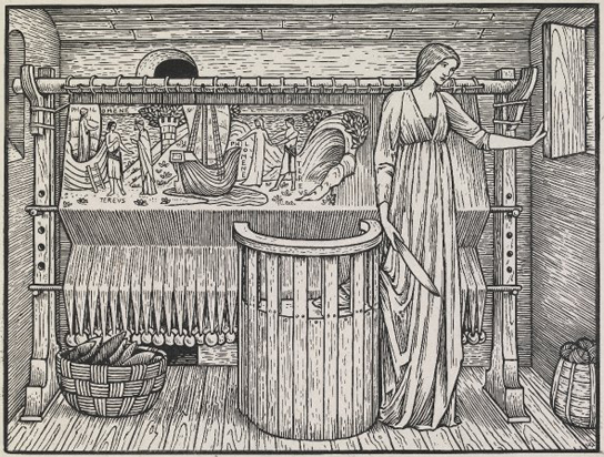 Edward Burne-Jones, Philomene, with a woman (Philomela) standing by her loom holding a shuttle in an interior, with a half-woven tapestry with the story of Philomene and Tereus, looking out of the window. Wood-engraving on India paper.  Proof of an illustration designed by for the Kelmscott Chaucer, p.441, 'The Legend of Goode Wimme'. 1896. PD 1912,0612.372