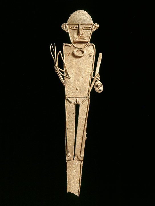 Tunjo representing a warrior with bow, arrows and a trophy head in his hand. (exh. cat. p. 120). © Museo del Oro O00296