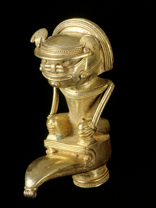 Anthropomorphic bat-man staff finial, AD 900-1600, Tairona, gold alloy (exh. cat. p. 157). © Museo del Oro O26176