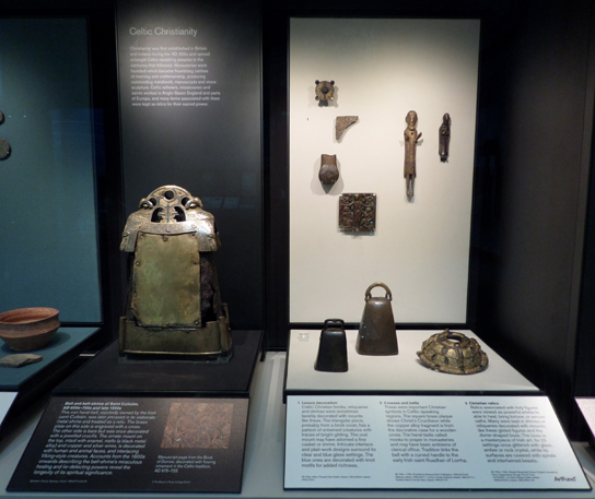 Display of hand-bells in Room 41. Saint Cuileáin's bell is on the left.