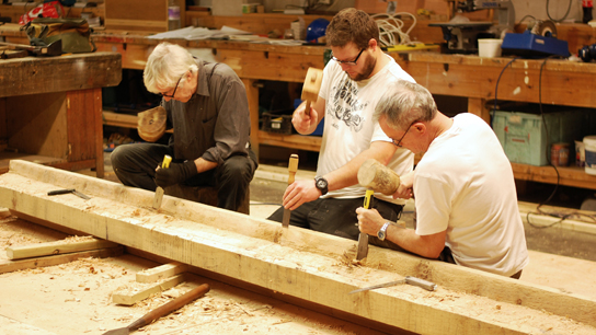Gareth, Will and Martin cutting the keel rabbet (or rebate)
