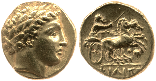 Gold stater of Philip II, showing obverse (front) and reverse. 1911,0208.2