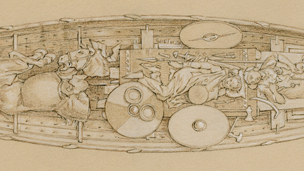 A boat burial from Kaupang, Norway, early 10th century. Illustration by Þórhallur Þráinsson, © Neil Price