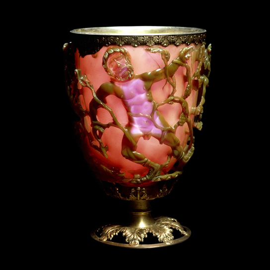 The Lycurgus Cup, shown with transmitted light