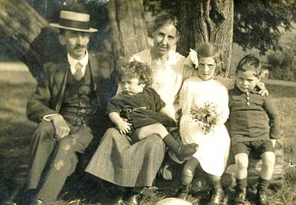 Fred and Nellie with their three children, date unknown. Photo with kind permission of Joy