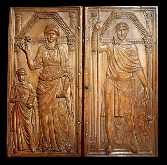 Ivory diptych of Stilicho (right) with his wife Serena and son Eucherius, aroud AD 395, Monza Cathedral, Italy. photo © Iberfoto / SuperStock