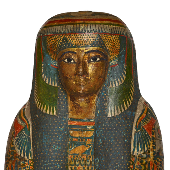Tamut, a high-ranking priest's daughter. Shown here is a detail of the cartonnage case that contains the mummy.