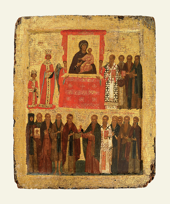 The Triumph of Orthodoxy. Icon painted with egg tempera, with gilding, on a wooden panel faced with linen and gesso. Byzantine (late), around 1400, Constantinople (1988,0411.1)