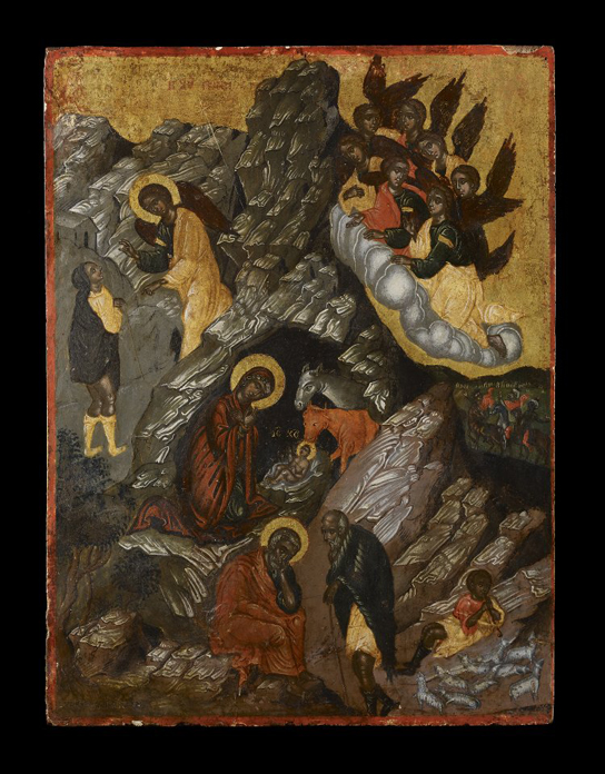 Icon with the Nativity of Christ. Egg tempera on wood with linen and gesso. Crete, 17th century (2012,8039.1)