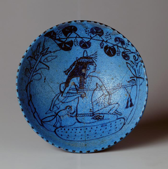 Faience wine bowl with female lute player. Egypt, around 1400–1300 BC. National Museum of Antiquities, Leiden (AD 14)