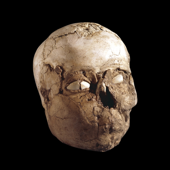 Plastered skull, from Jericho, State of Palestine, about 8000-7500 BC. (ME 127414)