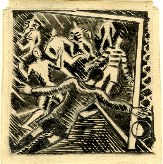 Paul Nash, Football game, illustration to 'Cotswold Characters' by John Drinkwater, Brush drawing in black ink, over graphite (1970,0919.89)