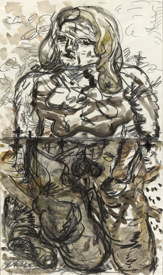 Georg Baselitz, Zwei Streifen ('Two Stripes'), charcoal, watercolour and graphite on thin laid paper, 1966