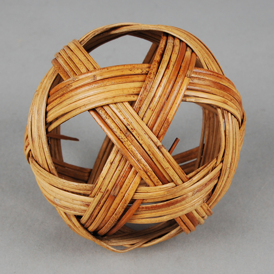Openwork 'football' made of rattan, in six strands. From Burma (As1981,Q.21)