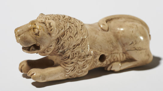 Ivory gaming piece (EA 64093). Catering for the royal afterlife, board games and playing pieces for Mehen, the snake game, were some of the objects placed in the tombs of the First Dynasty kings.
