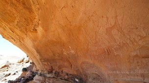 Painted and engraved rock art and graffiti from Aharar Mellen, Acacus Mountains, Fezzan District, Libya