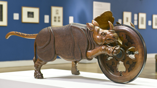 Curious Beasts at Ferens Art Gallery, Hull: the rhinoceros wheelbarrow, made by Hull furniture makers Richardson & Sons, 1862