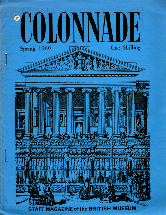 Cover of Colonnade, staff magazine of the British Museum, Spring 1969 edition.