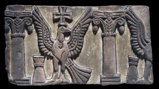 Decorative relief frieze with an eagle or dove from the First Cathedral at Faras, 7th century AD (British Museum, EA 606).