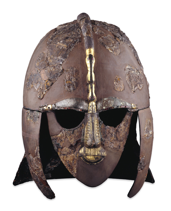 The Sutton Hoo helmet. Tin, iron, copper alloy, silver, gold, garnet. Early Anglo-Saxon, early 7th century. Found in the Sutton Hoo Ship-burial Mound: 1, Suffolk, England.