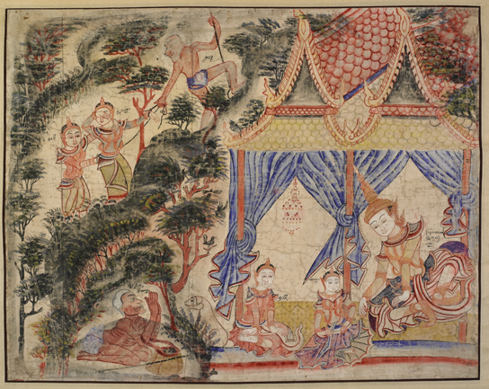 Painting of the Vessantara Jataka story, Thailand, late 1800s. Pigment on cloth (1926,0217,0.4)