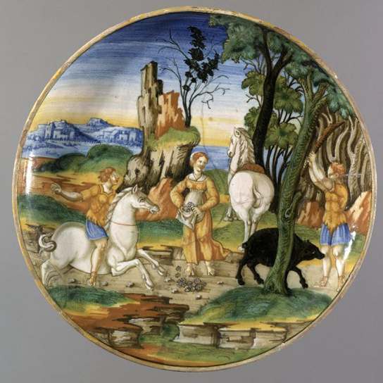 Picus and Circe, tin-glazed earthenware (maiolica)  bowl. The 'Argus Painter', Pesaro, c.1535-40. PE 1855,1201.89  (not in catalogue)