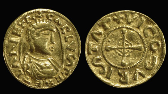 Gold solidus of Emperor Charlemagne. France, AD 768-814
