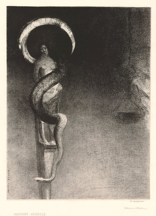 Odilon Redon (1840-1916), Serpent-Auréole (Serpent halo) 1890. Lithograph. 1949,0411.3508 (not in catalogue)