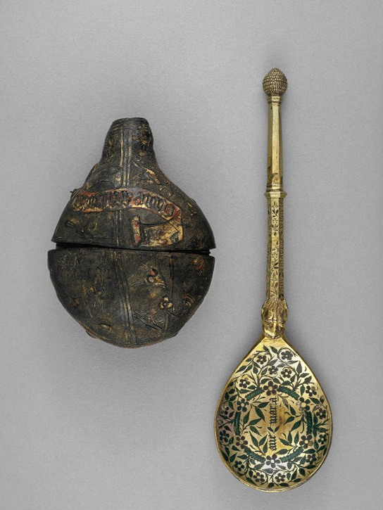 Travelling spoon and case. Silver-gilt enamel and leather. Probably Flemish, 15th century. 1899,1209.3.