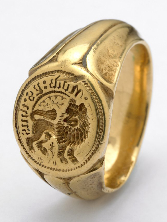 Gold signet-ring, found on the site of the battlefield of Towton (1461), which has been associated with Henry Percy, 3rd Earl of Northumberland, who died in the battle. (AF.771)