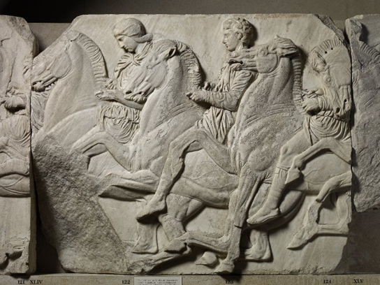 Marble relief (Block XLIV) from the North frieze of the Parthenon. The frieze shows the procession of the Panathenaic festival, the commemoration of the birthday of the goddess Athena. 1816,0610.43