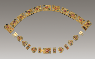 Gold belt set with gems, excavated from the tomb of Zhu Zhanji, Prince Zhuang of Liang, and Lady Wei at Zhongxiang, Hubei province, about 1403–25. Courtesy of the Hubei Provincial Museum.