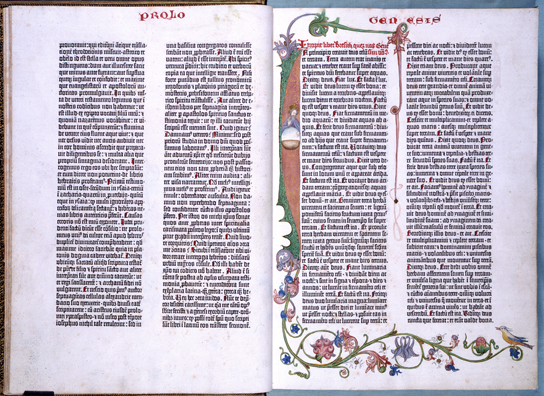 The opening of the Book of Genesis from the Gutenberg Bible, 1455. © The British Library Board C.9.d.3, 4v-5