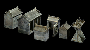 Earthenware funerary model of a house complex, China, Ming dynasty, c.1450-1500. BM 1937,0716.6.c