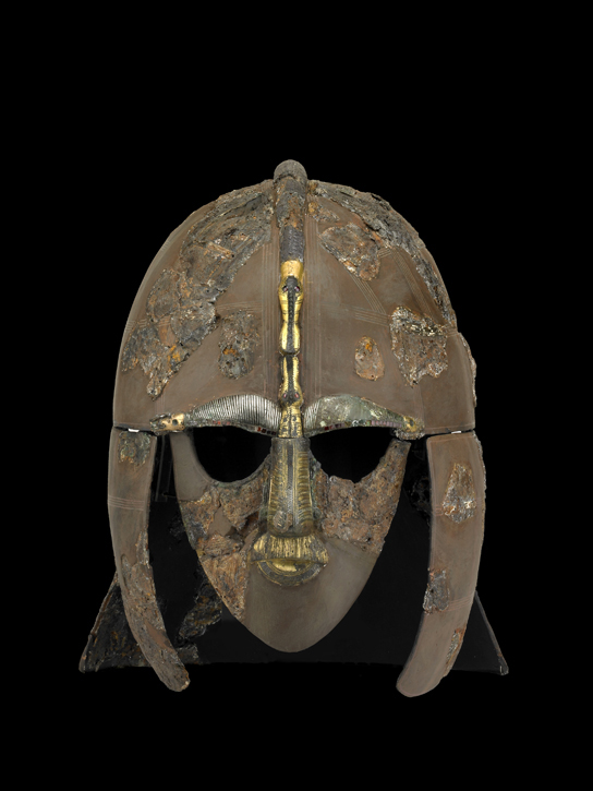 The Sutton Hoo helmet. Tin, iron, copper alloy, silver, gold, garnet. Early Anglo-Saxon, early 7th century. Found in the Sutton Hoo Ship-burial Mound: 1, Suffolk, England. 1939,1010.93