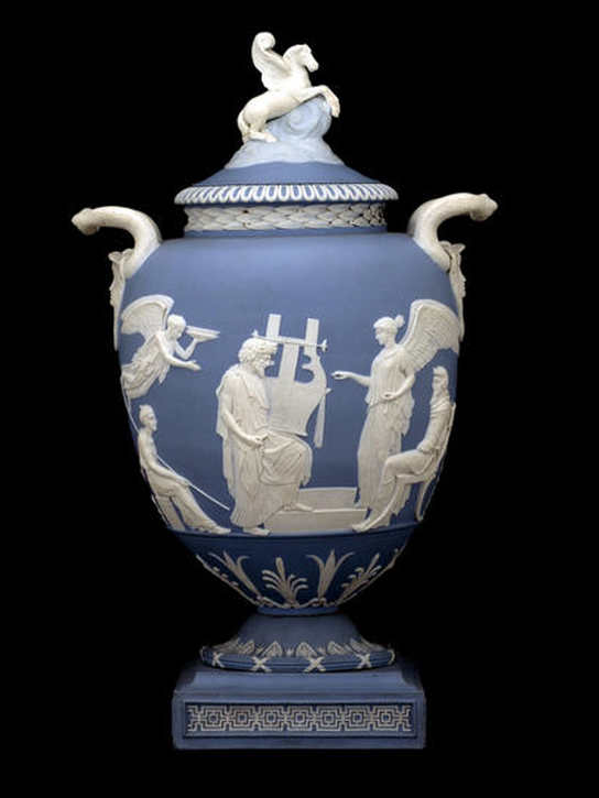 The Pegasus Vase. Pale blue jasper ware with applied white reliefs (1786,0527.1 )