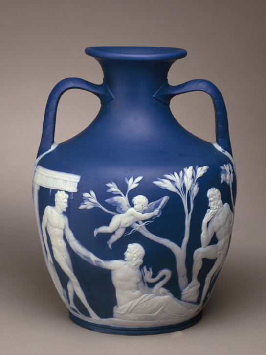 Copy of the Portland Vase, jasper ware coloured blue and ornamented with applied white reliefs (1802,0312.1)