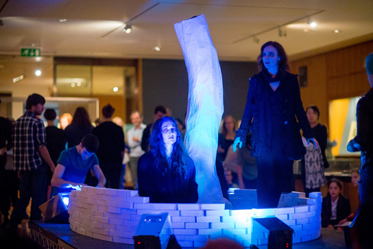 Louise Torres-Ryan and Roseanne Lynch play two of the Weird Sisters for RIFT at the British Museum. Photo © Benedict Johnson